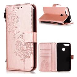 Intricate Embossing Dandelion Butterfly Leather Wallet Case for Huawei Y6 (2018) - Rose Gold