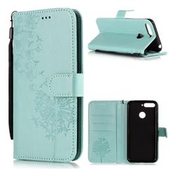 Intricate Embossing Dandelion Butterfly Leather Wallet Case for Huawei Y6 (2018) - Green