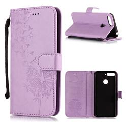 Intricate Embossing Dandelion Butterfly Leather Wallet Case for Huawei Y6 (2018) - Purple