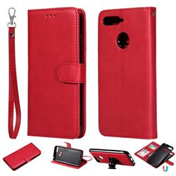 Retro Greek Detachable Magnetic PU Leather Wallet Phone Case for Huawei Y6 (2018) - Red