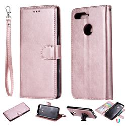 Retro Greek Detachable Magnetic PU Leather Wallet Phone Case for Huawei Y6 (2018) - Rose Gold