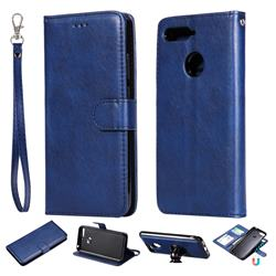 Retro Greek Detachable Magnetic PU Leather Wallet Phone Case for Huawei Y6 (2018) - Blue