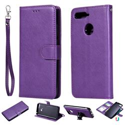 Retro Greek Detachable Magnetic PU Leather Wallet Phone Case for Huawei Y6 (2018) - Purple