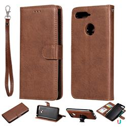 Retro Greek Detachable Magnetic PU Leather Wallet Phone Case for Huawei Y6 (2018) - Brown
