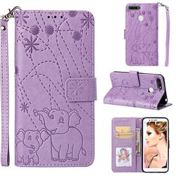 Embossing Fireworks Elephant Leather Wallet Case for Huawei Y6 (2018) - Purple
