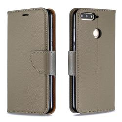 Classic Luxury Litchi Leather Phone Wallet Case for Huawei Y6 (2018) - Gray