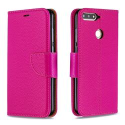 Classic Luxury Litchi Leather Phone Wallet Case for Huawei Y6 (2018) - Rose