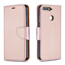 Classic Luxury Litchi Leather Phone Wallet Case for Huawei Y6 (2018) - Golden