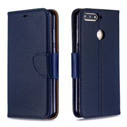 Classic Luxury Litchi Leather Phone Wallet Case for Huawei Y6 (2018) - Blue