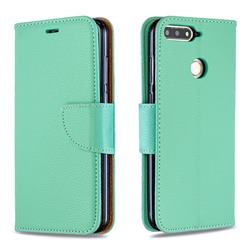 Classic Luxury Litchi Leather Phone Wallet Case for Huawei Y6 (2018) - Green