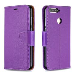 Classic Luxury Litchi Leather Phone Wallet Case for Huawei Y6 (2018) - Purple