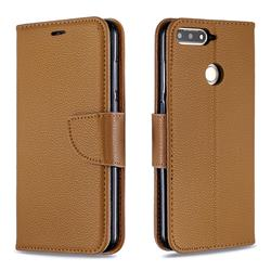Classic Luxury Litchi Leather Phone Wallet Case for Huawei Y6 (2018) - Brown