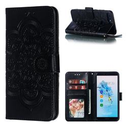 Intricate Embossing Datura Solar Leather Wallet Case for Huawei Y6 (2018) - Black