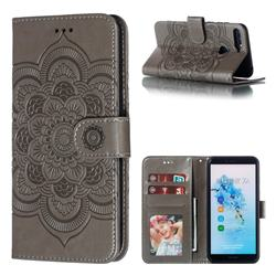 Intricate Embossing Datura Solar Leather Wallet Case for Huawei Y6 (2018) - Gray