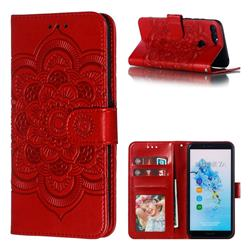 Intricate Embossing Datura Solar Leather Wallet Case for Huawei Y6 (2018) - Red