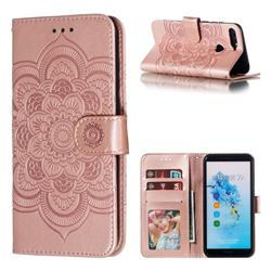 Intricate Embossing Datura Solar Leather Wallet Case for Huawei Y6 (2018) - Rose Gold