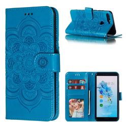 Intricate Embossing Datura Solar Leather Wallet Case for Huawei Y6 (2018) - Blue