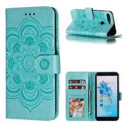 Intricate Embossing Datura Solar Leather Wallet Case for Huawei Y6 (2018) - Green