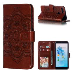 Intricate Embossing Datura Solar Leather Wallet Case for Huawei Y6 (2018) - Brown