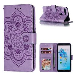 Intricate Embossing Datura Solar Leather Wallet Case for Huawei Y6 (2018) - Purple