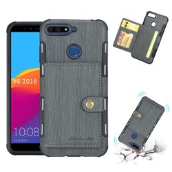 Brush Multi-function Leather Phone Case for Huawei Y6 (2018) - Gray