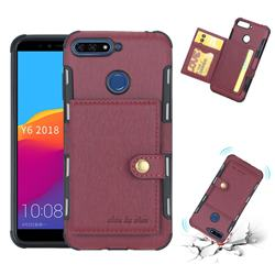 Brush Multi-function Leather Phone Case for Huawei Y6 (2018) - Wine Red