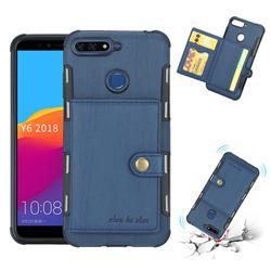 Brush Multi-function Leather Phone Case for Huawei Y6 (2018) - Blue