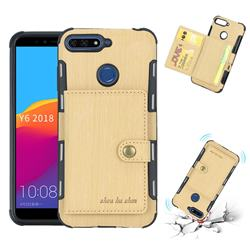 Brush Multi-function Leather Phone Case for Huawei Y6 (2018) - Golden