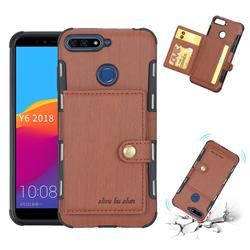 Brush Multi-function Leather Phone Case for Huawei Y6 (2018) - Brown