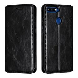 Retro Slim Magnetic Crazy Horse PU Leather Wallet Case for Huawei Y6 (2018) - Black