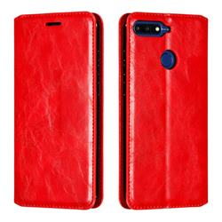 Retro Slim Magnetic Crazy Horse PU Leather Wallet Case for Huawei Y6 (2018) - Red