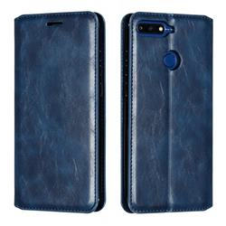 Retro Slim Magnetic Crazy Horse PU Leather Wallet Case for Huawei Y6 (2018) - Blue