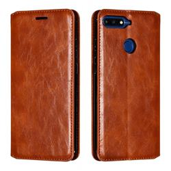 Retro Slim Magnetic Crazy Horse PU Leather Wallet Case for Huawei Y6 (2018) - Brown