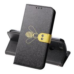 Silk Texture Bee Pattern Leather Phone Case for Huawei Y6 (2018) - Black