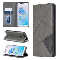 Prismatic Slim Magnetic Sucking Stitching Wallet Flip Cover for Huawei Y6 (2018) - Gray