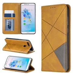 Prismatic Slim Magnetic Sucking Stitching Wallet Flip Cover for Huawei Y6 (2018) - Yellow