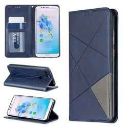 Prismatic Slim Magnetic Sucking Stitching Wallet Flip Cover for Huawei Y6 (2018) - Blue