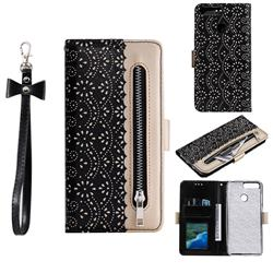Luxury Lace Zipper Stitching Leather Phone Wallet Case for Huawei Y6 (2018) - Black