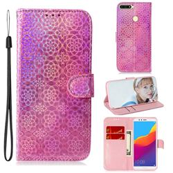 Laser Circle Shining Leather Wallet Phone Case for Huawei Y6 (2018) - Pink