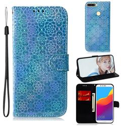 Laser Circle Shining Leather Wallet Phone Case for Huawei Y6 (2018) - Blue