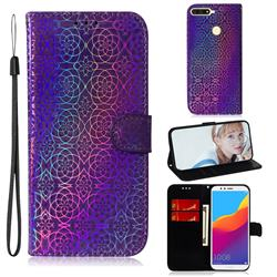 Laser Circle Shining Leather Wallet Phone Case for Huawei Y6 (2018) - Purple