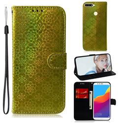 Laser Circle Shining Leather Wallet Phone Case for Huawei Y6 (2018) - Golden