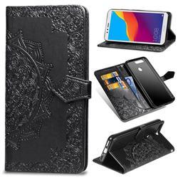 Embossing Imprint Mandala Flower Leather Wallet Case for Huawei Y6 (2018) - Black