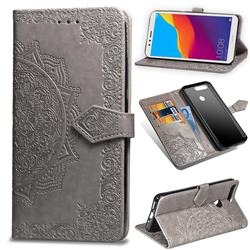 Embossing Imprint Mandala Flower Leather Wallet Case for Huawei Y6 (2018) - Gray