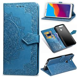 Embossing Imprint Mandala Flower Leather Wallet Case for Huawei Y6 (2018) - Blue