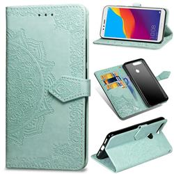 Embossing Imprint Mandala Flower Leather Wallet Case for Huawei Y6 (2018) - Green