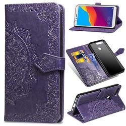 Embossing Imprint Mandala Flower Leather Wallet Case for Huawei Y6 (2018) - Purple