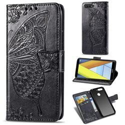 Embossing Mandala Flower Butterfly Leather Wallet Case for Huawei Y6 (2018) - Black