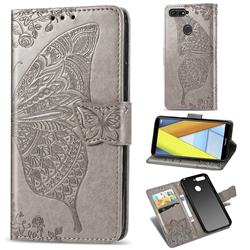 Embossing Mandala Flower Butterfly Leather Wallet Case for Huawei Y6 (2018) - Gray