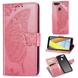 Embossing Mandala Flower Butterfly Leather Wallet Case for Huawei Y6 (2018) - Pink